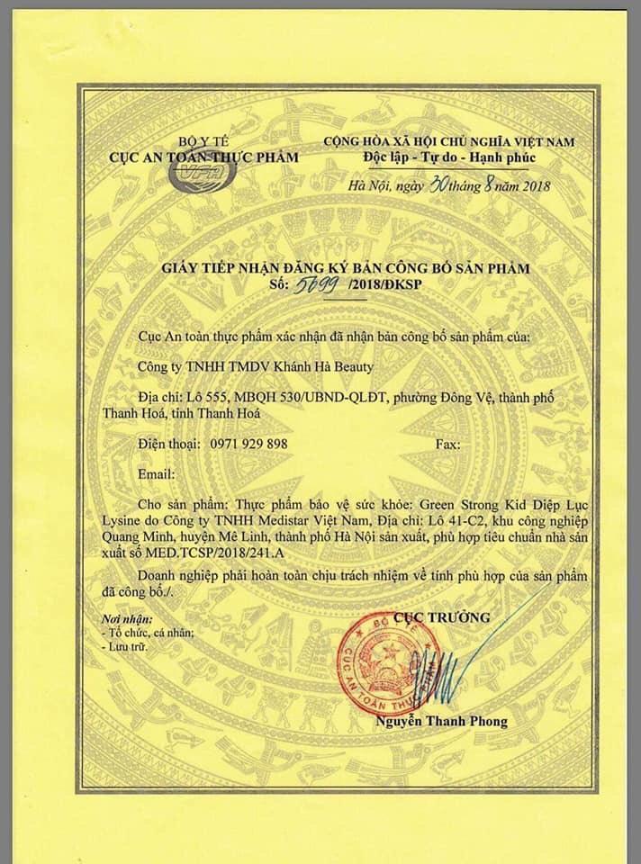 giấy chứng nhận của diệp lục collagen