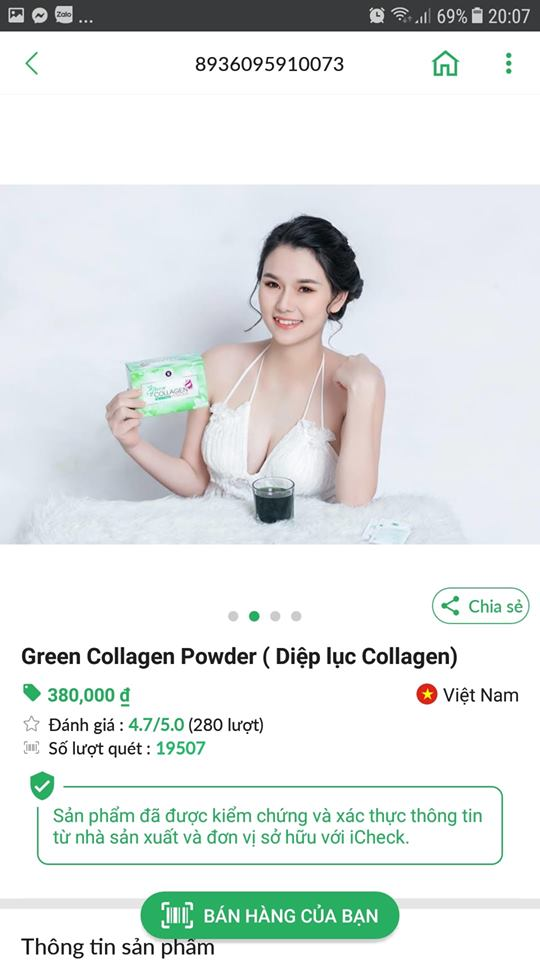 nhận biết hàng chính hãng diệp lục collagen